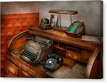 Accountant - Typewriter - The Accountants Office Canvas Print by Mike Savad
