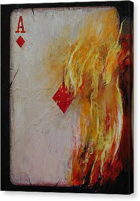 Burnt Canvas Print - Ace Of Diamonds by Michael Creese