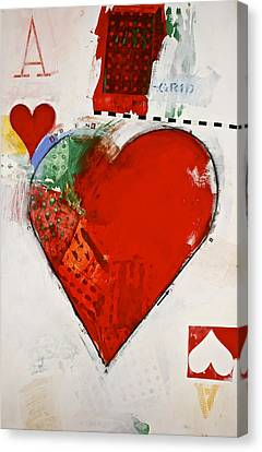 Canvas Print featuring the painting Ace Of Hearts 8-52 by Cliff Spohn