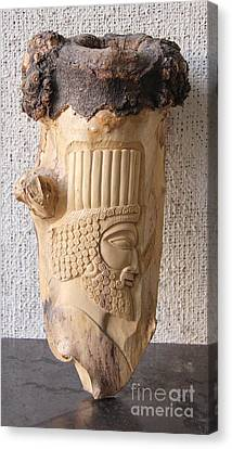 Achaemenian Soldier Relief Sculpture Wood Work Canvas Print by Persian Art