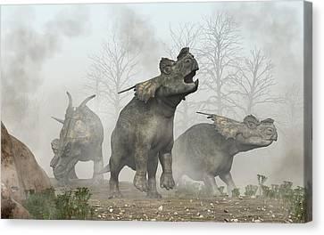 Achelousauruses Canvas Print by Daniel Eskridge