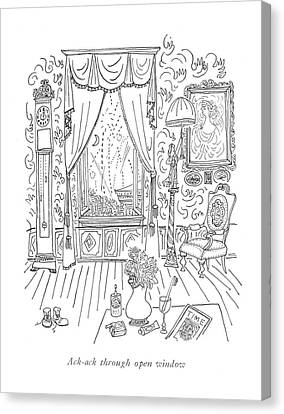 Ack-ack Through Open Window Canvas Print by Saul Steinberg