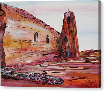 Acoma Pueblo Church Canvas Print by Tom Shinas