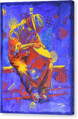 Canvas Print featuring the painting Acoustic Blues by Nancy Jolley