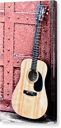 Acoustic Guitar And Red Door Canvas Print by Bill Cannon