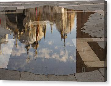 Acqua Alta Or High Water Reflects St Mark's Cathedral In Venice Canvas Print by Georgia Mizuleva