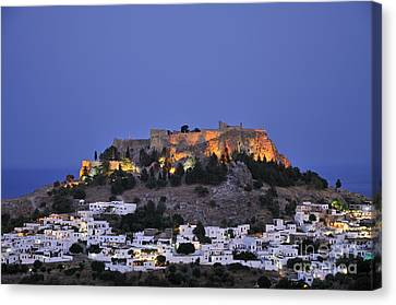 Acropolis And Village Of Lindos During Dusk Time Canvas Print by George Atsametakis