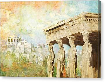 Acropolis Of Athens Canvas Print by Catf