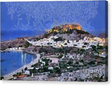 Acropolis Village And Beach Of Lindos Canvas Print by George Atsametakis