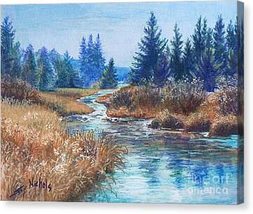 Across The Brook Canvas Print by Joy Nichols