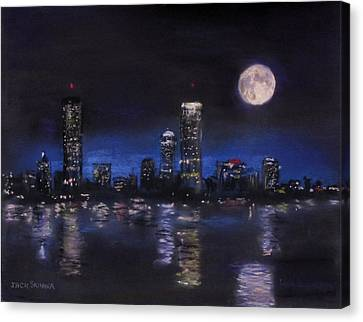 Across The Charles At Night Canvas Print by Jack Skinner