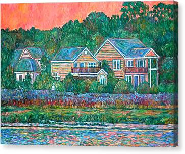 Canvas Print featuring the painting Across The Marsh At Pawleys Island       by Kendall Kessler