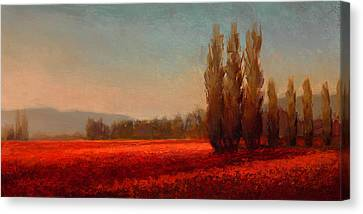 Red Flowers Canvas Print - Across The Tulip Field - Horizontal Landscape by Karen Whitworth