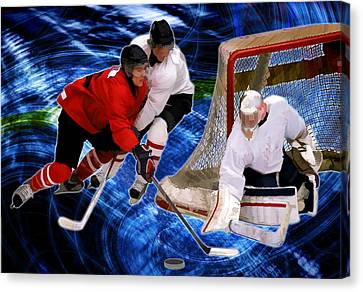 Action At The Hockey Net Canvas Print by Elaine Plesser