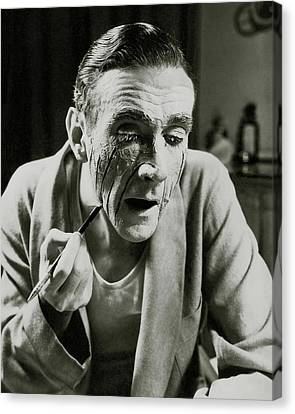 Dressing Room Canvas Print - Actor Clifton Webb Applying Make-up by Lusha Nelson