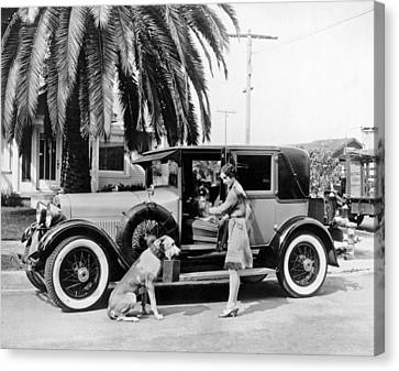 Actress And Dogs Go On Trip Canvas Print by Underwood Archives