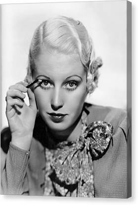 Actress Curls Her Lashes Canvas Print by Underwood Archives