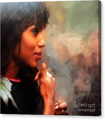 Actress Kerry Washington Canvas Print by Nishanth Gopinathan