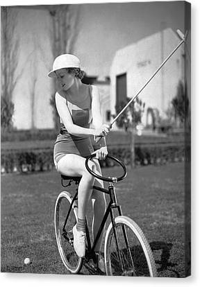 Actress Plays Bike Polo Canvas Print by Underwood Archives