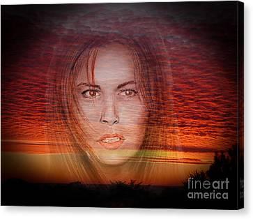 Actress Raquel Welch In Hannie Caulder Sunset Version Canvas Print by Jim Fitzpatrick