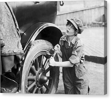 Actress Working On Her Car Canvas Print by Underwood Archives
