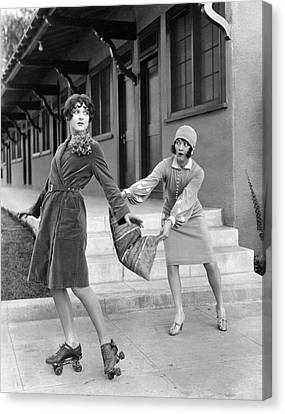 Actresses On Roller Skates Canvas Print by Underwood Archives