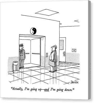 Actually, I'm Going Up - And I'm Going Down Canvas Print by Jack Ziegler