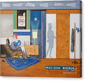 Ad Man Sitting In An Eames With Girl Friday Canvas Print by John Lyes