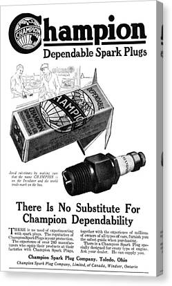 Ad Spark Plugs, 1919 Canvas Print by Granger
