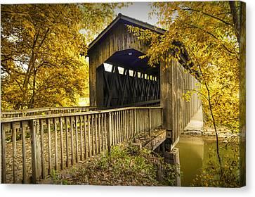 Ada Covered Bridge In Autumn Canvas Print