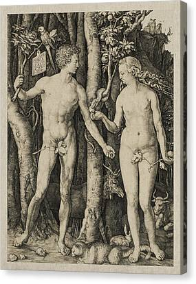 Adam And Eve Canvas Print by Aged Pixel