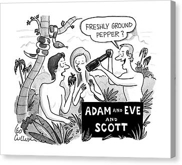 Adam And Eve And Scott Canvas Print by Leo Cullum