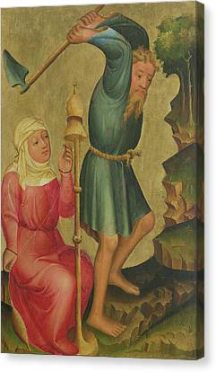 Adam And Eve At Work, Detail From The Grabow Altarpiece, 1379-83 Tempera On Panel Canvas Print by Master Bertram of Minden
