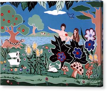 Canvas Print featuring the painting Adam And Eve by Joyce Gebauer