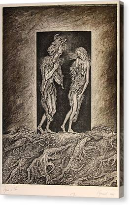 Adam And Eve Canvas Print by Leonid Stroganov