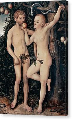 Adam And Eve Canvas Print by Lucas Cranach Elder