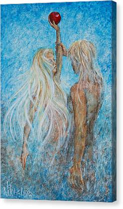 Canvas Print featuring the painting Adam And Eve  by Nik Helbig