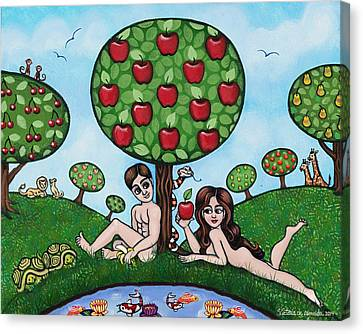 Adam And Eve The Naked Truth Canvas Print by Victoria De Almeida