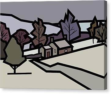 Adam's Farm In Winter Canvas Print by Kenneth North