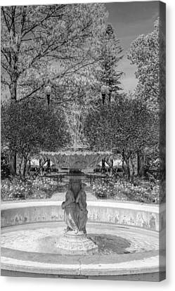 Adams Park Fountain Black And White Canvas Print by Christopher Arndt