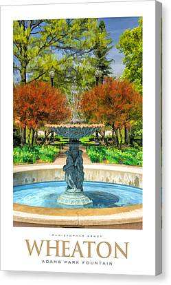 Adams Park Fountain Poster Canvas Print by Christopher Arndt