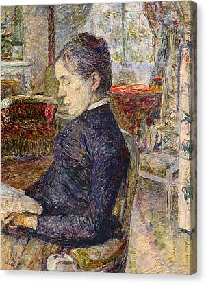 Adele Tapie De Celeyran 1840-1930 Countess Of Toulouse-lautrec-monfa In The Salon Of Chateau De Canvas Print by Henri de Toulouse-Lautrec
