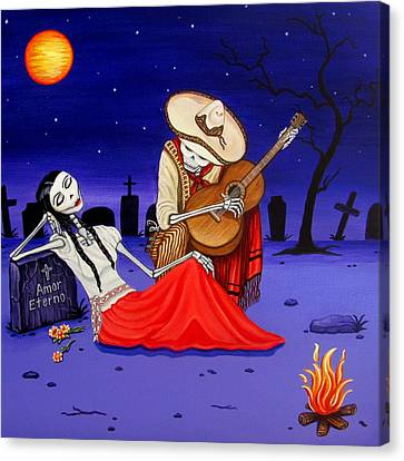 Canvas Print featuring the painting Adelita Y Juan Cementery by Evangelina Portillo