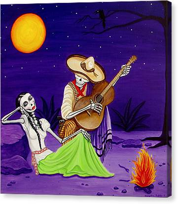 Canvas Print featuring the painting Adelita Y Juan by Evangelina Portillo