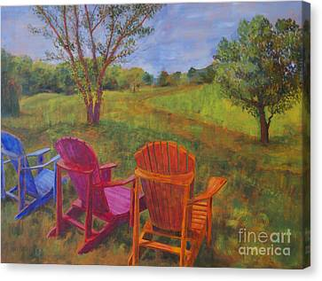 Adirondack Chairs In Leiper's Fork Canvas Print by Arthur Witulski