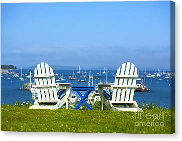 Adirondack Chairs Overlooking The Ocean Canvas Print by Diane Diederich