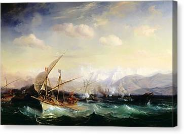 Newy Ork Canvas Print - Admiral Andrea Dora Scatters The Spanish Fleet Near Vara by Celestial Images