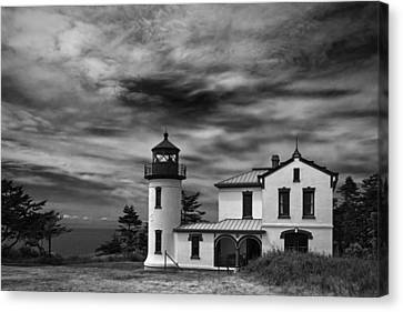 Admiralty Head Lighthouse Bw Canvas Print by Joan Carroll