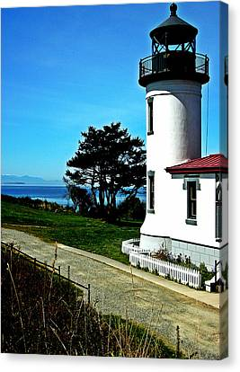 Old Door And Pacific Ocean Canvas Print - Admiralty Head Lighthouse View  by Kevin D Davis