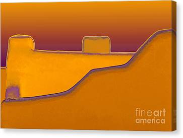 Adobe Rooftop-- Sunset Canvas Print by Linda  Parker